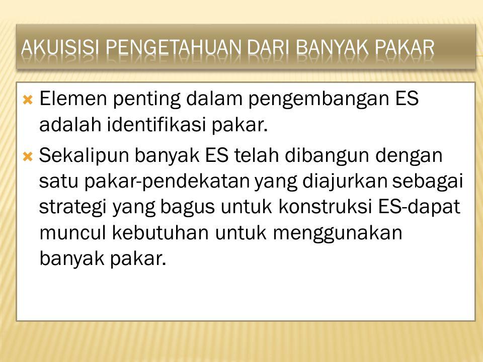  Elemen penting dalam pengembangan ES adalah identifikasi pakar.