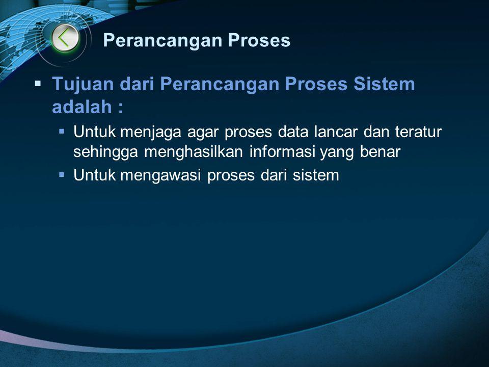 Perancangan Proses  Tujuan dari Perancangan Proses Sistem adalah :  Untuk menjaga agar proses data lancar dan teratur sehingga menghasilkan informas