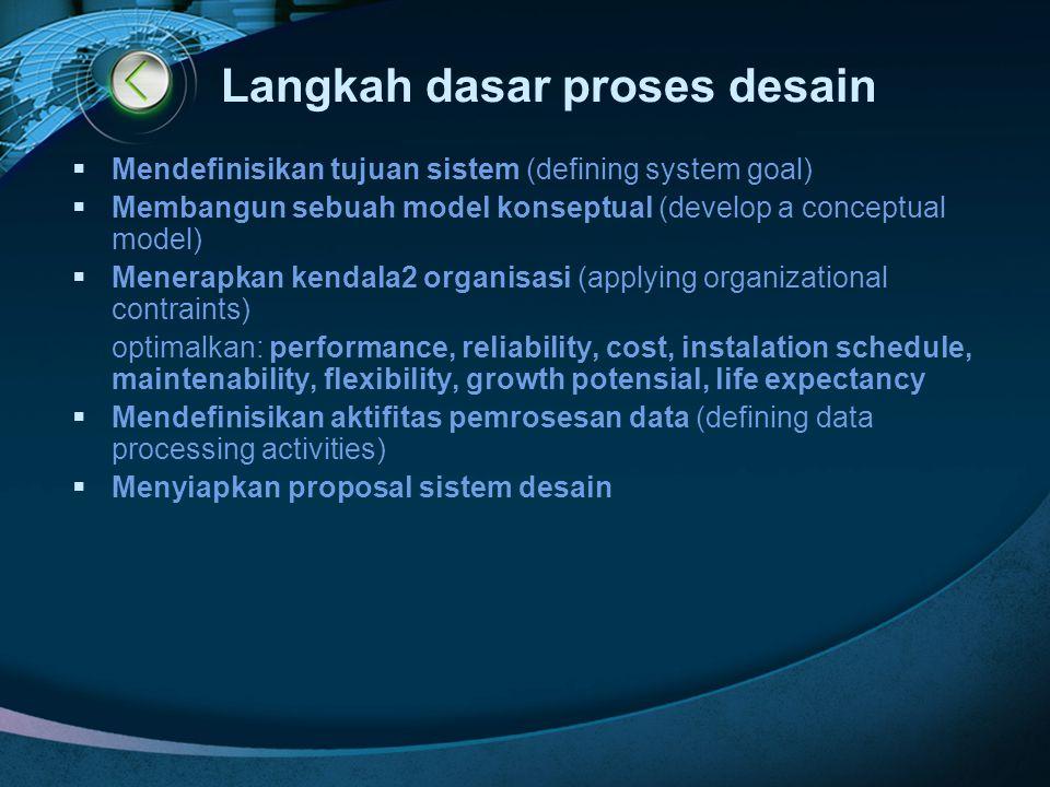 Langkah dasar proses desain  Mendefinisikan tujuan sistem (defining system goal)  Membangun sebuah model konseptual (develop a conceptual model)  M