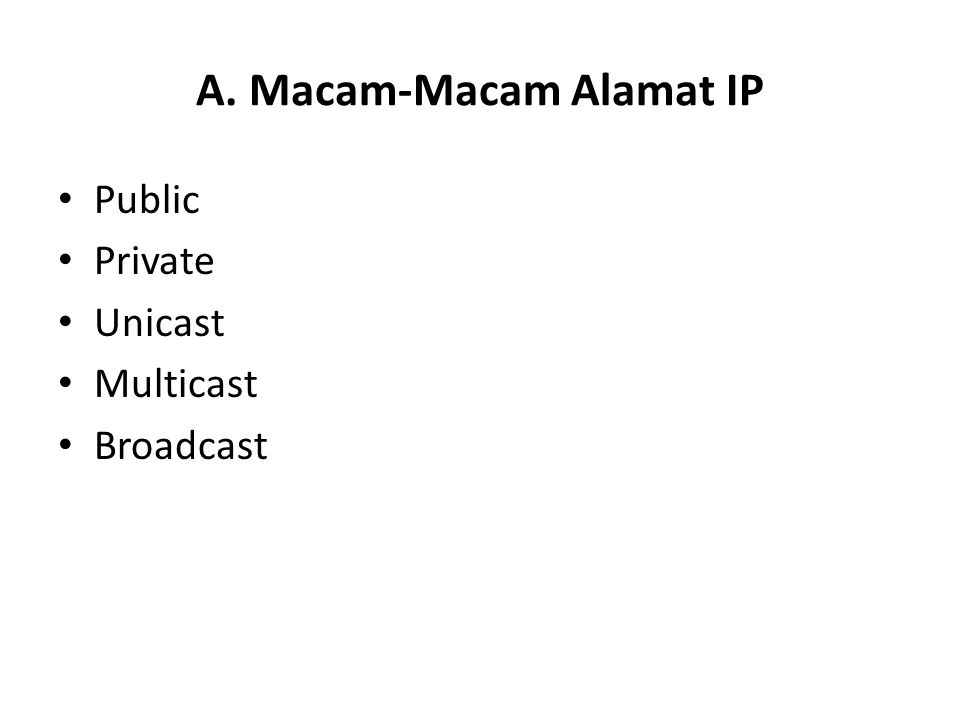 A. Macam-Macam Alamat IP Public Private Unicast Multicast Broadcast
