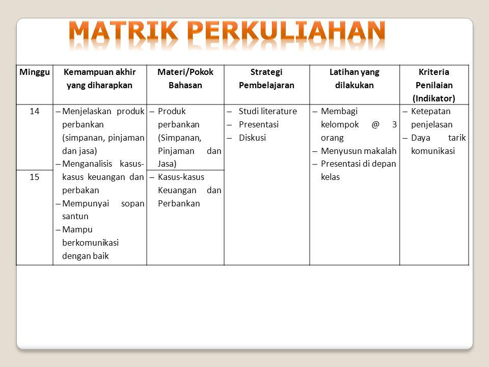 Minggu Kemampuan akhir yang diharapkan Materi/Pokok Bahasan Strategi Pembelajaran Latihan yang dilakukan Kriteria Penilaian (Indikator) 14  Menjelask