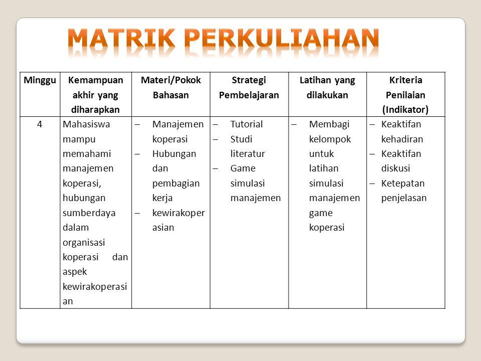 Minggu Kemampuan akhir yang diharapkan Materi/Pokok Bahasan Strategi Pembelajaran Latihan yang dilakukan Kriteria Penilaian (Indikator) 4Mahasiswa mam
