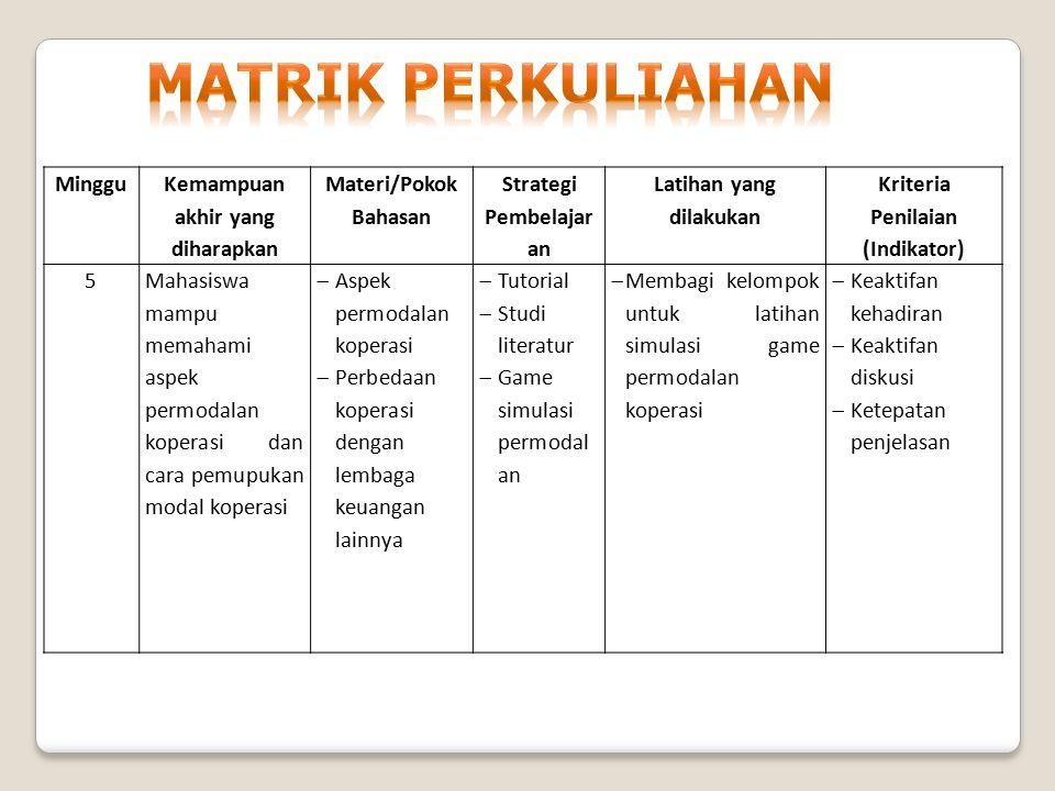 Minggu Kemampuan akhir yang diharapkan Materi/Pokok Bahasan Strategi Pembelaj aran Latihan yang dilakukan Kriteria Penilaian (Indikator) 6Mahasiswa mengetahui berbagai macamusaha koperasi dan implementasi koperasi dalam agribisnis dan agroindustri  Usaha-usaha Koperasi di Indonesia  Implementasi Koperasi dalam agribisnis dan agroindustri  Tutorial  Diskusi  Studi literatur Diskusi kelompok dan presentasi hasil studi literatur  Keaktifan kehadiran  Keaktifan diskusi  Ketepatan penjelasan