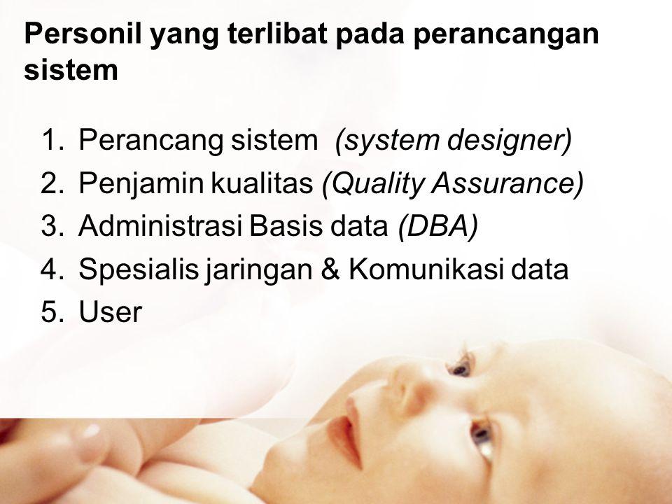 Personil yang terlibat pada perancangan sistem 1.Perancang sistem (system designer) 2.Penjamin kualitas (Quality Assurance) 3.Administrasi Basis data