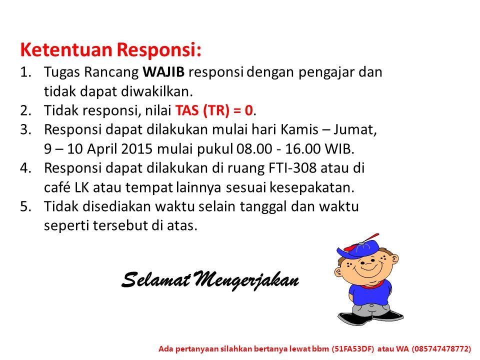 Ketentuan Responsi: 1.Tugas Rancang WAJIB responsi dengan pengajar dan tidak dapat diwakilkan. 2.Tidak responsi, nilai TAS (TR) = 0. 3.Responsi dapat