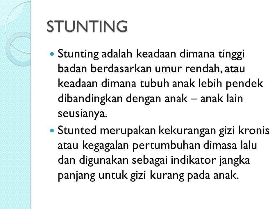 STUNTING Stunting adalah keadaan dimana tinggi badan berdasarkan umur rendah, atau keadaan dimana tubuh anak lebih pendek dibandingkan dengan anak – a