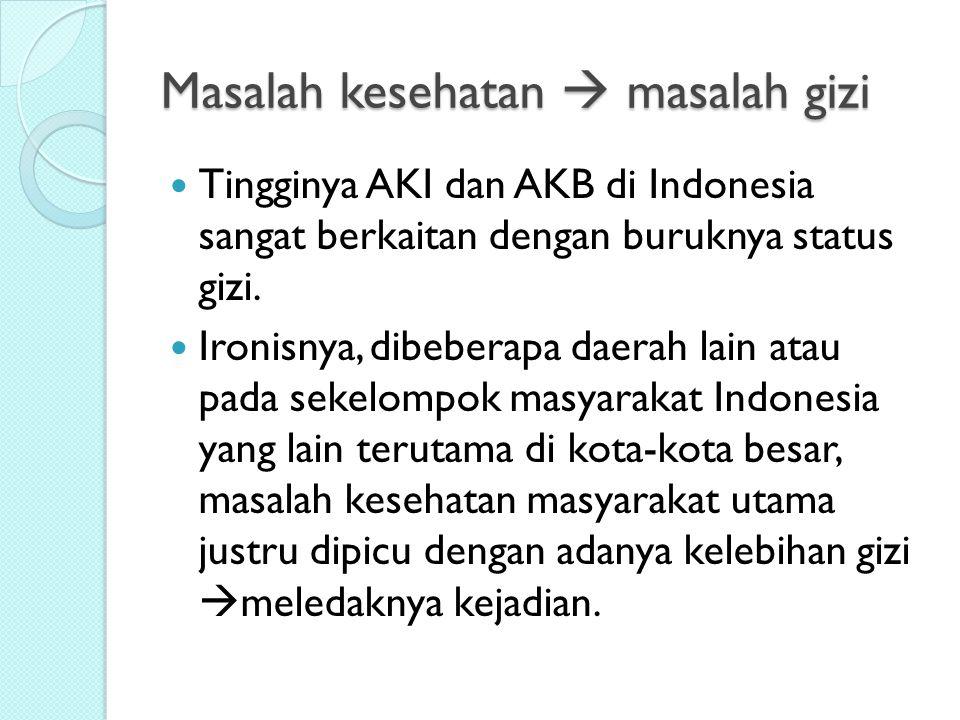 Masalah kesehatan  masalah gizi Tingginya AKI dan AKB di Indonesia sangat berkaitan dengan buruknya status gizi. Ironisnya, dibeberapa daerah lain at