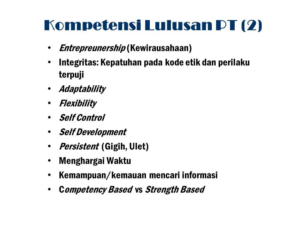 Entrepreunership (Kewirausahaan) Integritas: Kepatuhan pada kode etik dan perilaku terpuji Adaptability Flexibility Self Control Self Development Pers