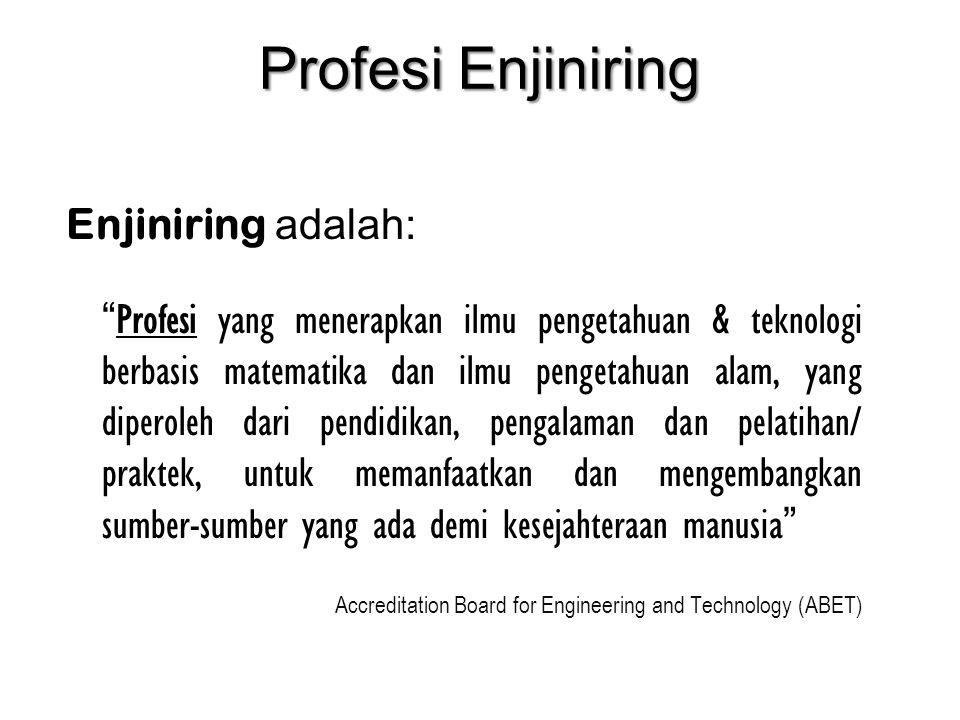 """Profesi Enjiniring Enjiniring adalah: """" Profesi yang menerapkan ilmu pengetahuan & teknologi berbasis matematika dan ilmu pengetahuan alam, yang diper"""