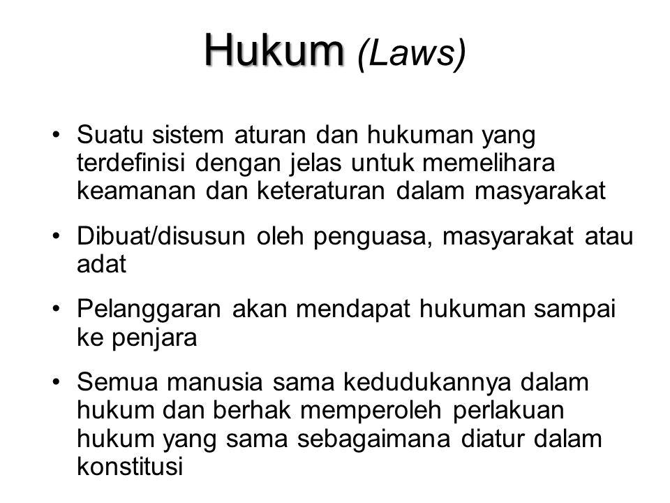 Hukum Hukum (Laws) Suatu sistem aturan dan hukuman yang terdefinisi dengan jelas untuk memelihara keamanan dan keteraturan dalam masyarakat Dibuat/dis
