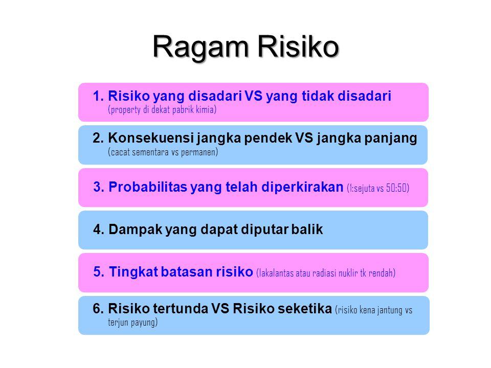 Ragam Risiko 1. Risiko yang disadari VS yang tidak disadari (property di dekat pabrik kimia) 2. Konsekuensi jangka pendek VS jangka panjang (cacat sem