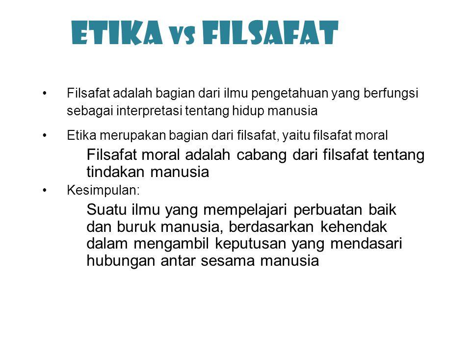 Etika vs Filsafat Filsafat adalah bagian dari ilmu pengetahuan yang berfungsi sebagai interpretasi tentang hidup manusia Etika merupakan bagian dari f