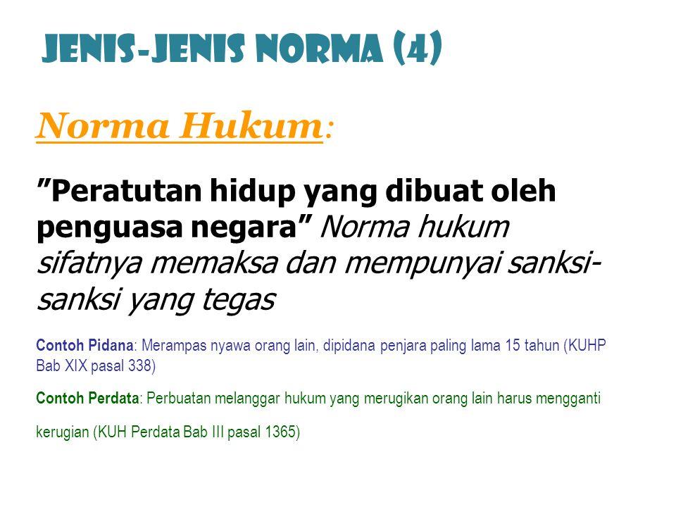"""Norma Hukum : """"Peratutan hidup yang dibuat oleh penguasa negara"""" Norma hukum sifatnya memaksa dan mempunyai sanksi- sanksi yang tegas Contoh Pidana :"""