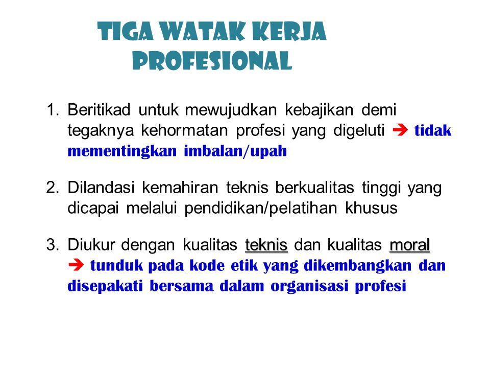 Tiga Watak Kerja profesional 1.Beritikad untuk mewujudkan kebajikan demi tegaknya kehormatan profesi yang digeluti  tidak mementingkan imbalan/upah 2