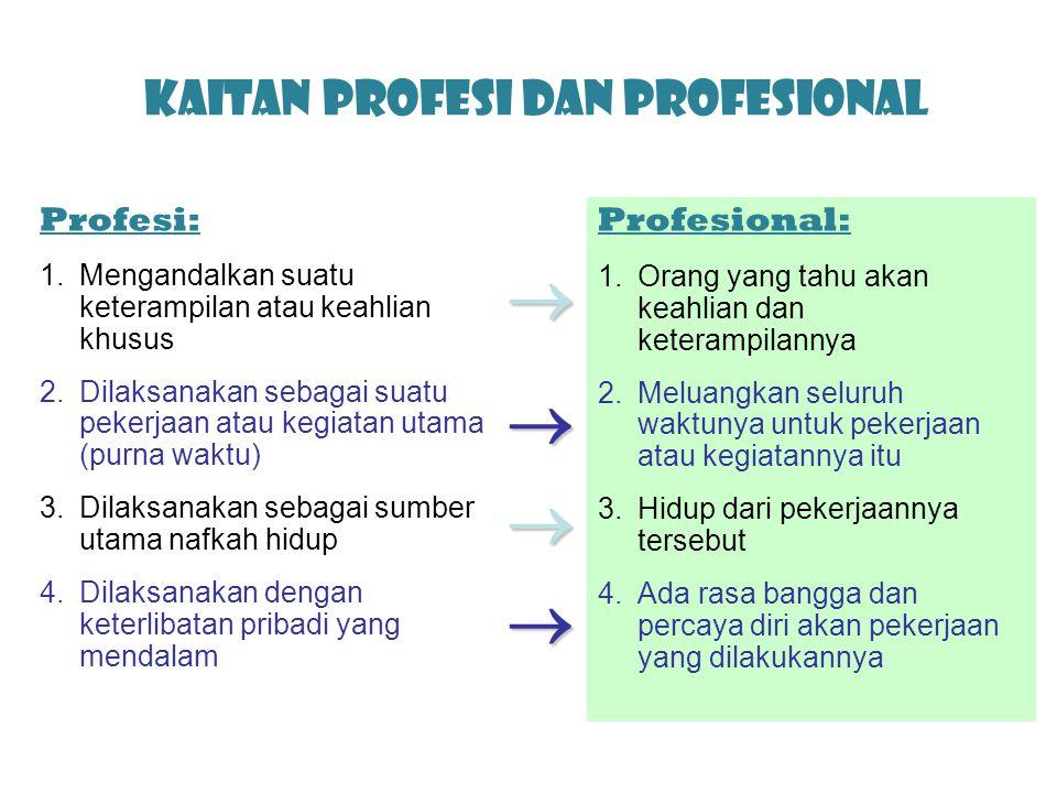 Kaitan Profesi dan Profesional Profesi: 1.Mengandalkan suatu keterampilan atau keahlian khusus 2.Dilaksanakan sebagai suatu pekerjaan atau kegiatan ut