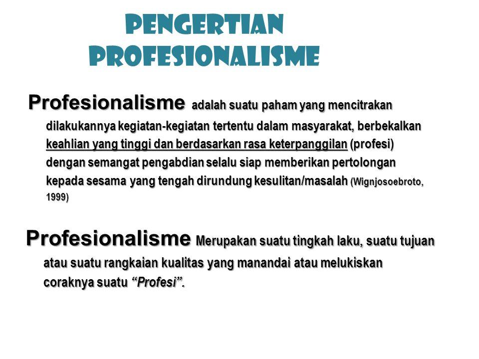 PENGERTIAN PROFESIonalisme Profesionalisme adalah suatu paham yang mencitrakan dilakukannya kegiatan-kegiatan tertentu dalam masyarakat, berbekalkan k