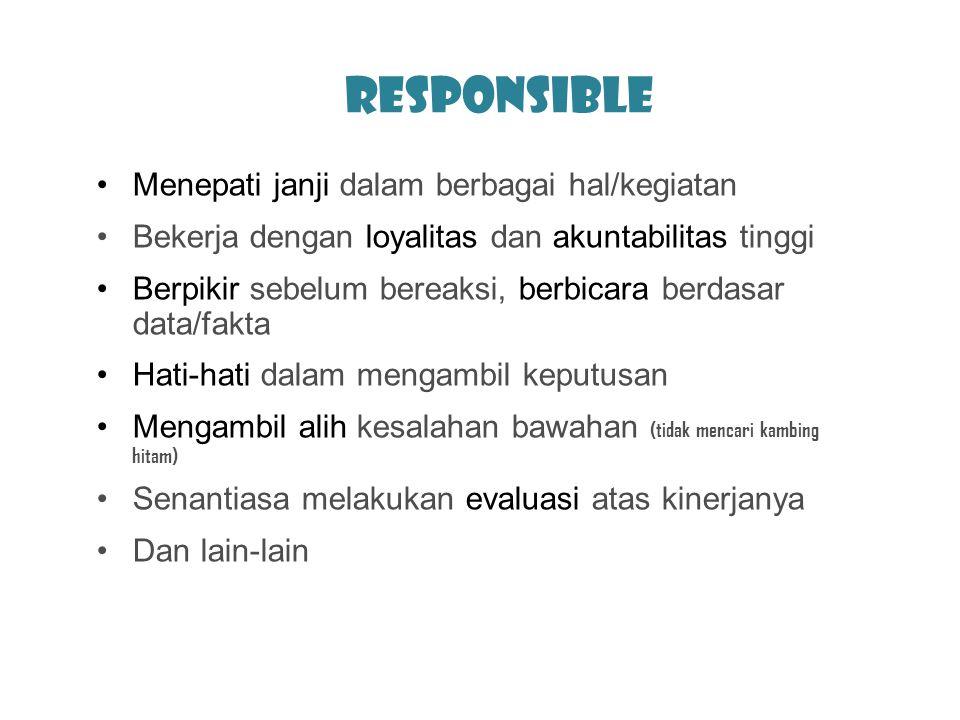 Responsible Menepati janji dalam berbagai hal/kegiatan Bekerja dengan loyalitas dan akuntabilitas tinggi Berpikir sebelum bereaksi, berbicara berdasar