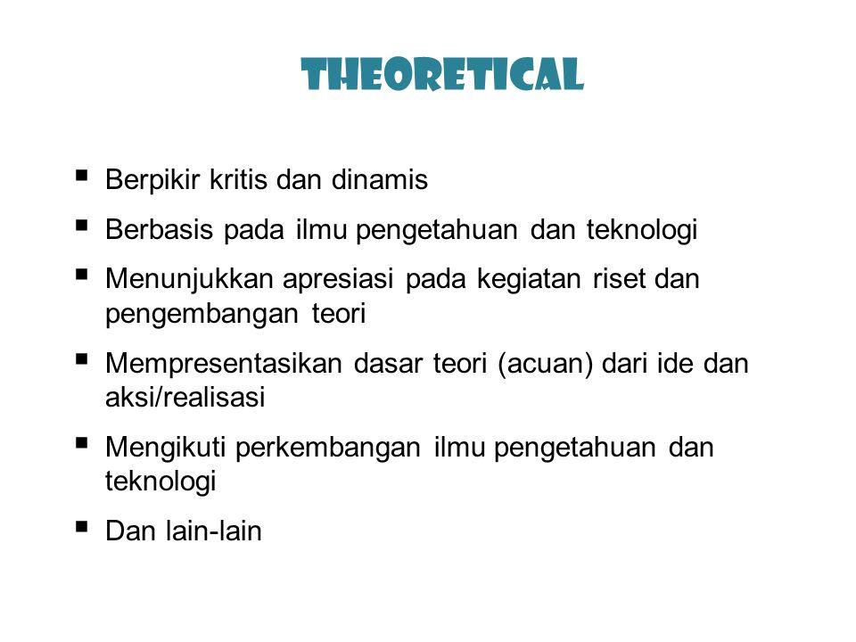 Theoretical  Berpikir kritis dan dinamis  Berbasis pada ilmu pengetahuan dan teknologi  Menunjukkan apresiasi pada kegiatan riset dan pengembangan