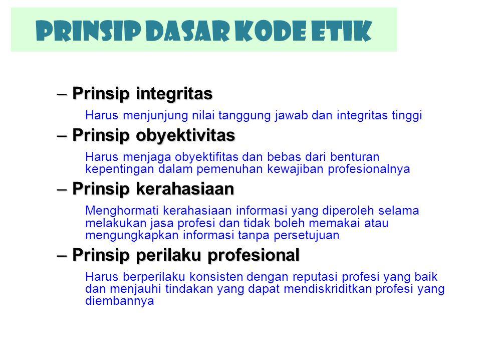 –Prinsip integritas Harus menjunjung nilai tanggung jawab dan integritas tinggi –Prinsip obyektivitas Harus menjaga obyektifitas dan bebas dari bentur