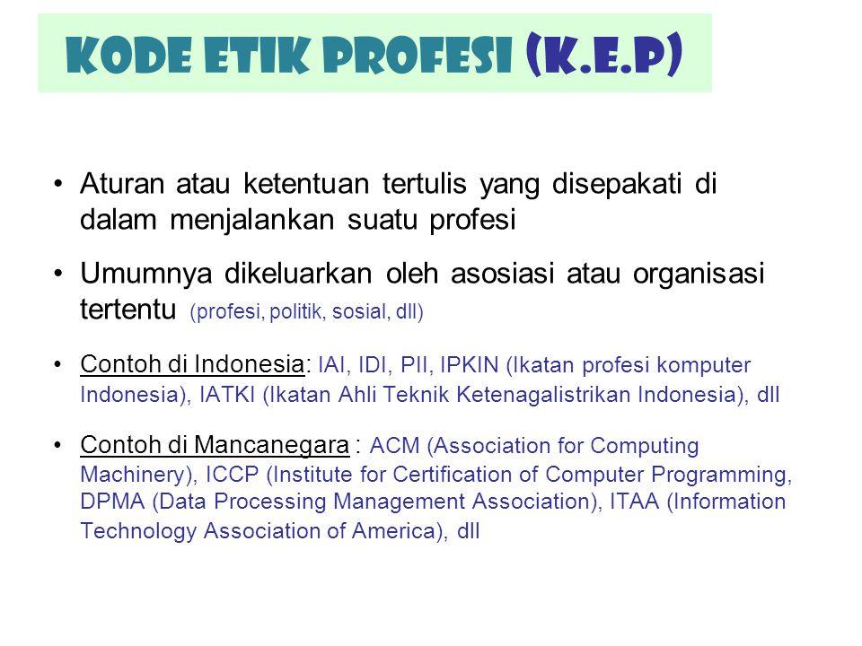 Kode etik profesi (K.E.P) Aturan atau ketentuan tertulis yang disepakati di dalam menjalankan suatu profesi Umumnya dikeluarkan oleh asosiasi atau org