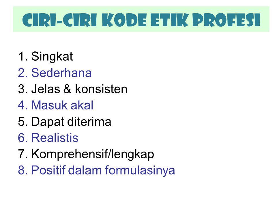 CIRI-CIRI Kode Etik Profesi 1.Singkat 2.Sederhana 3.Jelas & konsisten 4.Masuk akal 5.Dapat diterima 6.Realistis 7.Komprehensif/lengkap 8.Positif dalam