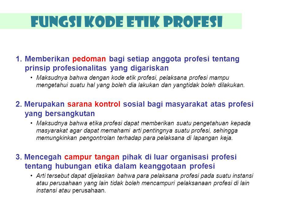 Fungsi Kode Etik Profesi 1.Memberikan pedoman bagi setiap anggota profesi tentang prinsip profesionalitas yang digariskan Maksudnya bahwa dengan kode