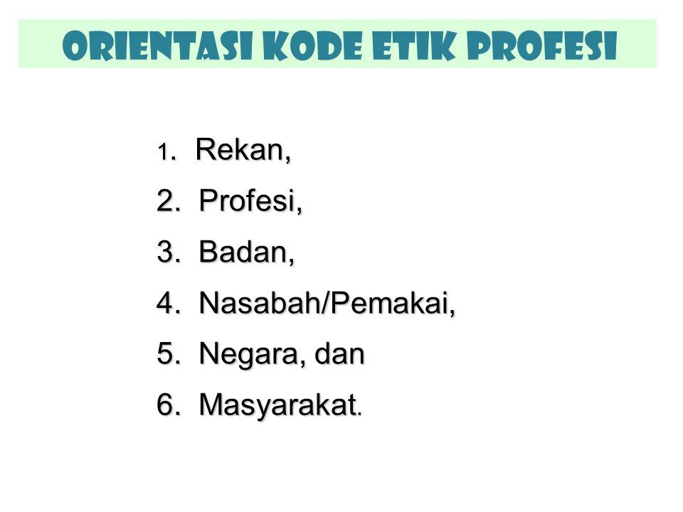 Orientasi Kode Etik Profesi 1. Rekan, 2. Profesi, 3. Badan, 4. Nasabah/Pemakai, 5. Negara, dan 6. Masyarakat.