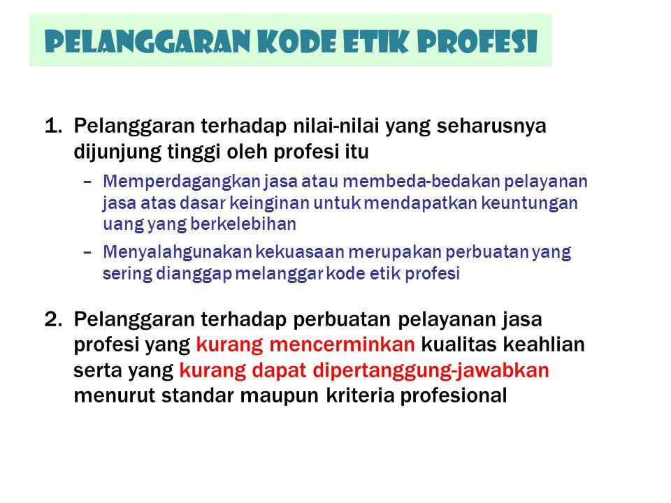 Pelanggaran kode etik Profesi 1.Pelanggaran terhadap nilai-nilai yang seharusnya dijunjung tinggi oleh profesi itu –Memperdagangkan jasa atau membeda-