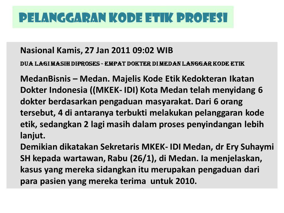 Pelanggaran kode etik Profesi Nasional Kamis, 27 Jan 2011 09:02 WIB Dua Lagi Masih Diproses - Empat Dokter di Medan Langgar Kode Etik MedanBisnis – Me