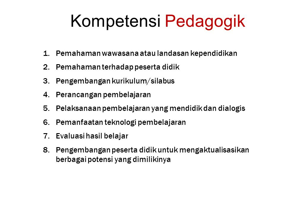Kompetensi Pedagogik 1.Pemahaman wawasana atau landasan kependidikan 2.Pemahaman terhadap peserta didik 3.Pengembangan kurikulum/silabus 4.Perancangan