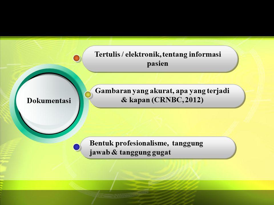 Dokumentasi Tertulis / elektronik, tentang informasi pasien Gambaran yang akurat, apa yang terjadi & kapan (CRNBC, 2012) Bentuk profesionalisme, tangg