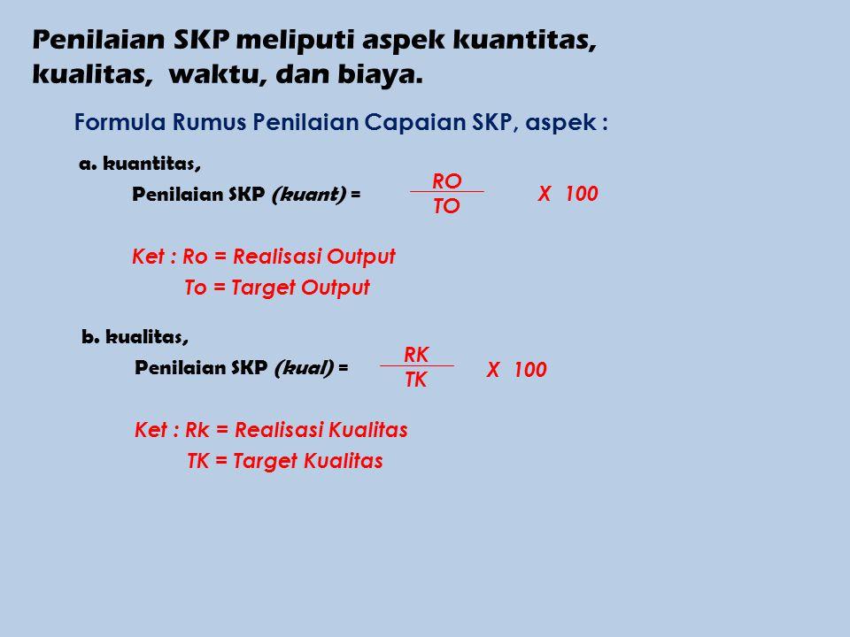 Penilaian SKP meliputi aspek kuantitas, kualitas, waktu, dan biaya.