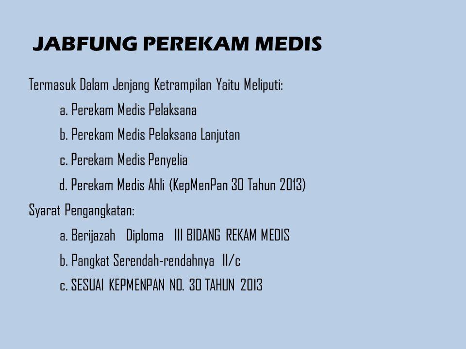 BAB IV JENJANG JABATAN DAN PANGKAT, GOLONGAN RUANG Pasal 6 (1) Jabatan fungsional Perekam Medis, terdiri atas: a.
