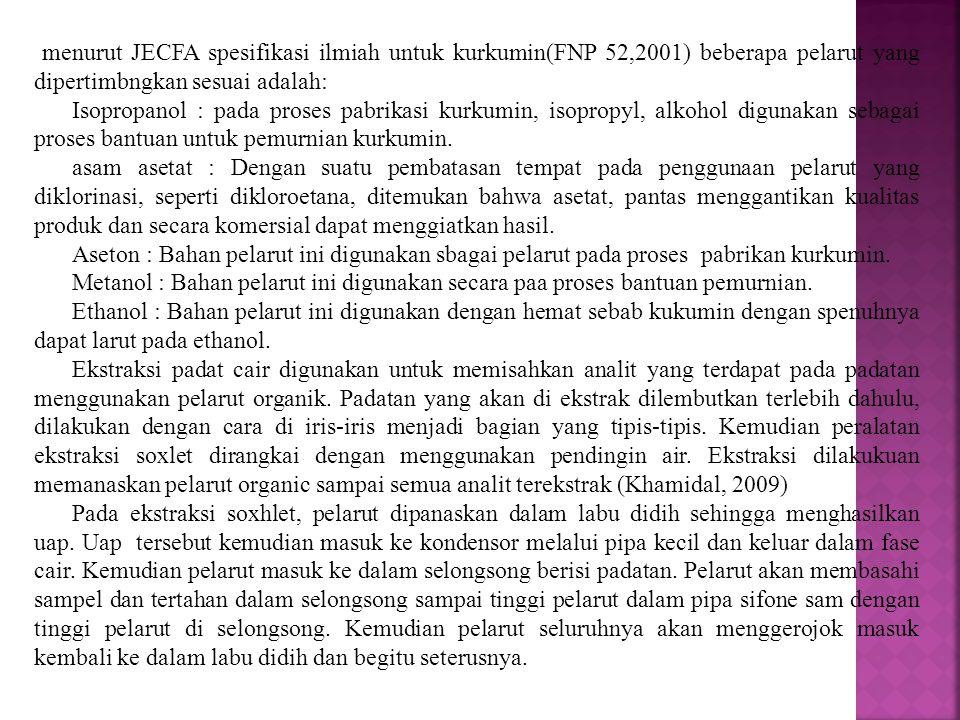 menurut JECFA spesifikasi ilmiah untuk kurkumin(FNP 52,2001) beberapa pelarut yang dipertimbngkan sesuai adalah: Isopropanol : pada proses pabrikasi k