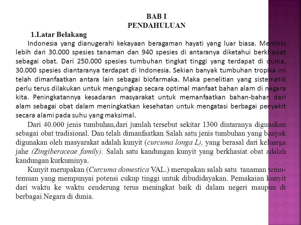 BAB I PENDAHULUAN 1.Latar Belakang Indonesia yang dianugerahi kekayaan beragaman hayati yang luar biasa. Memiliki lebih dari 30.000 spesies tanaman da