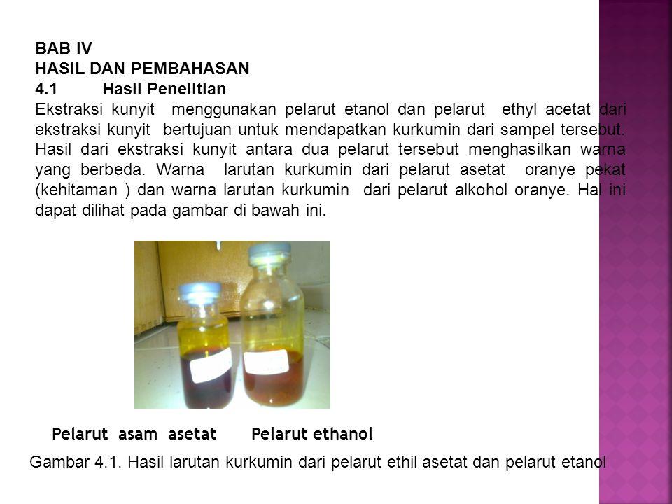 BAB IV HASIL DAN PEMBAHASAN 4.1 Hasil Penelitian Ekstraksi kunyit menggunakan pelarut etanol dan pelarut ethyl acetat dari ekstraksi kunyit bertujuan
