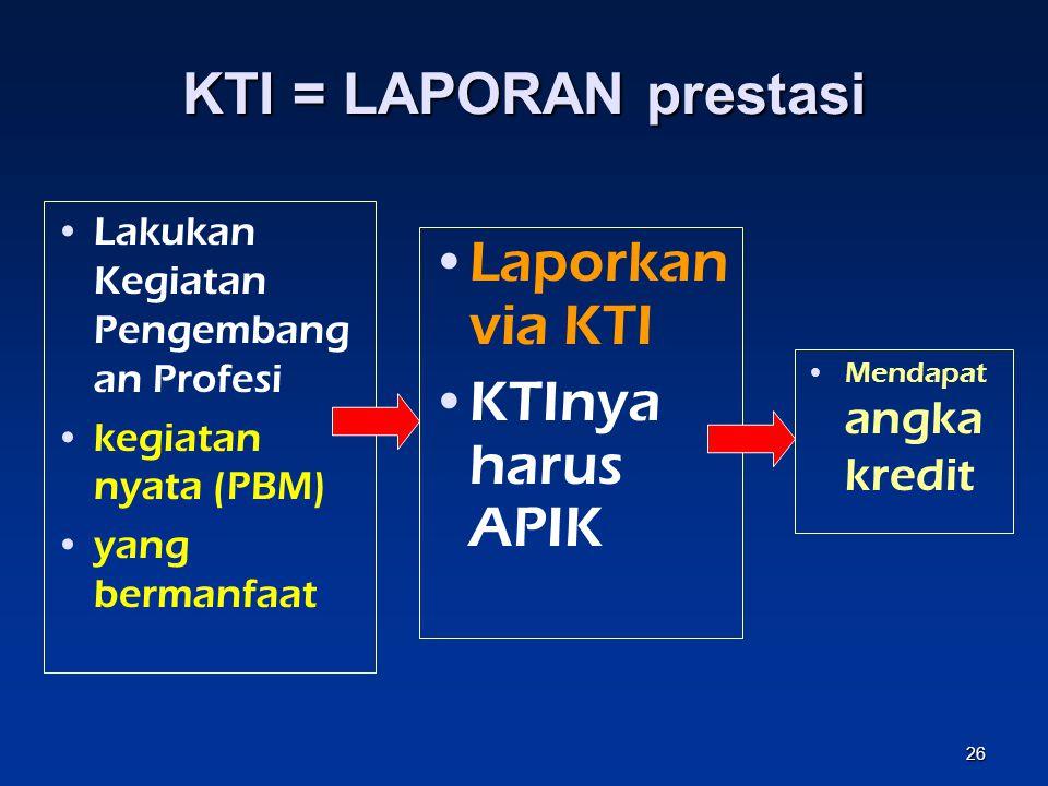 KTI adalah laporan atau rencana kegiatan pengembangan profesi 25