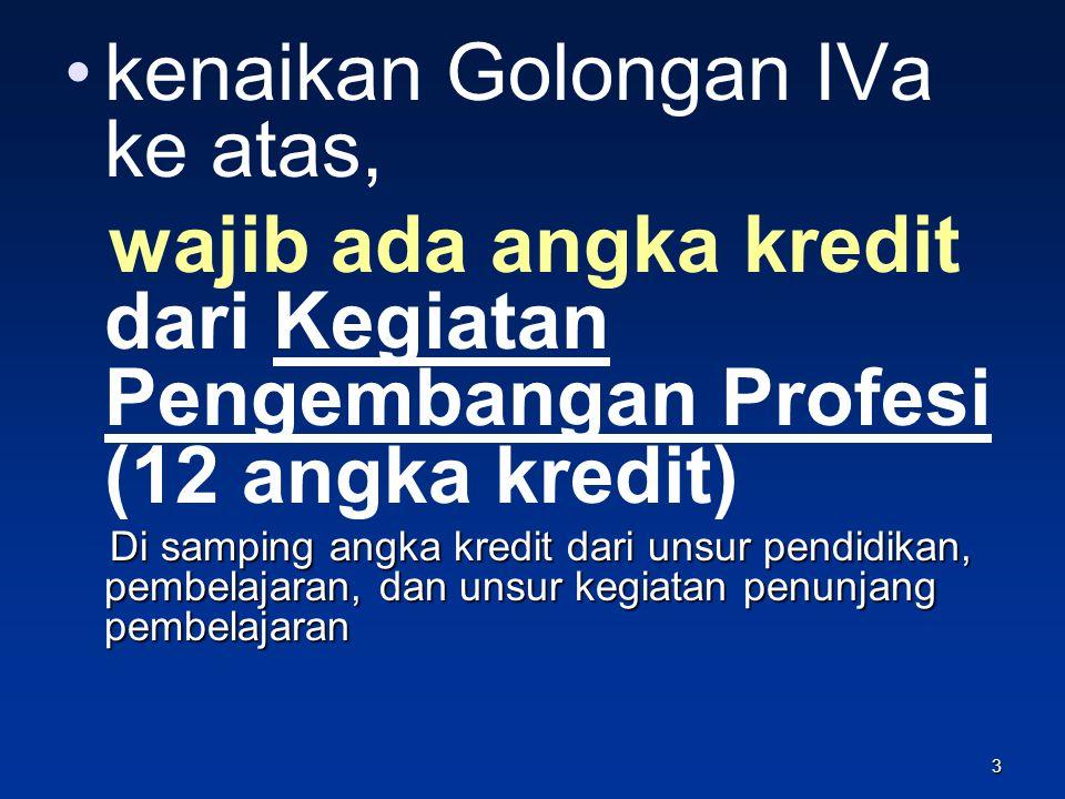 Masalah……… Naik dari IIIa ke IVa lancar… IVa banyak, Golongan IVb ke atas sedikit…… menumpuk Syarat: 12 kredit pengembangan profesi Pengembangan Profesi berupa KTI tidak mudah…..