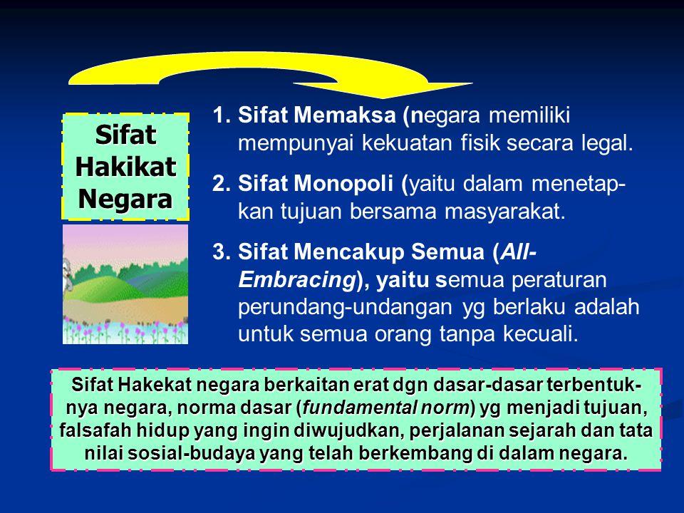 Sifat Hakikat Negara 1.Sifat Memaksa (negara memiliki mempunyai kekuatan fisik secara legal. 2.Sifat Monopoli (yaitu dalam menetap- kan tujuan bersama