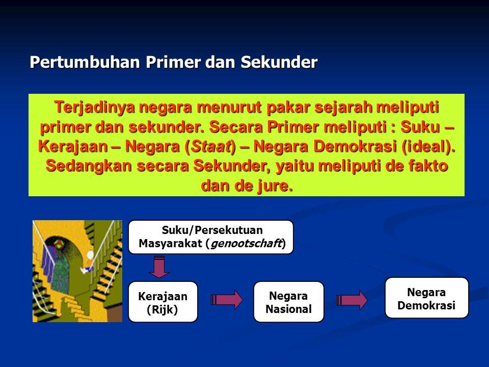 Terjadinya negara menurut pakar sejarah meliputi primer dan sekunder. Secara Primer meliputi : Suku – Kerajaan – Negara (Staat) – Negara Demokrasi (id