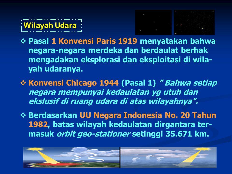  Pasal 1 Konvensi Paris 1919 menyatakan bahwa negara-negara merdeka dan berdaulat berhak mengadakan eksplorasi dan eksploitasi di wila- yah udaranya.