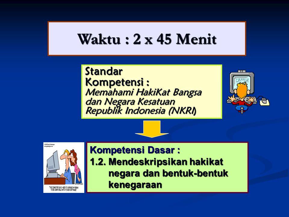 Waktu : 2 x 45 Menit Standar Kompetensi : Memahami HakiKat Bangsa dan Negara Kesatuan Republik Indonesia (NKRI) Kompetensi Dasar : 1.2. Mendeskripsika