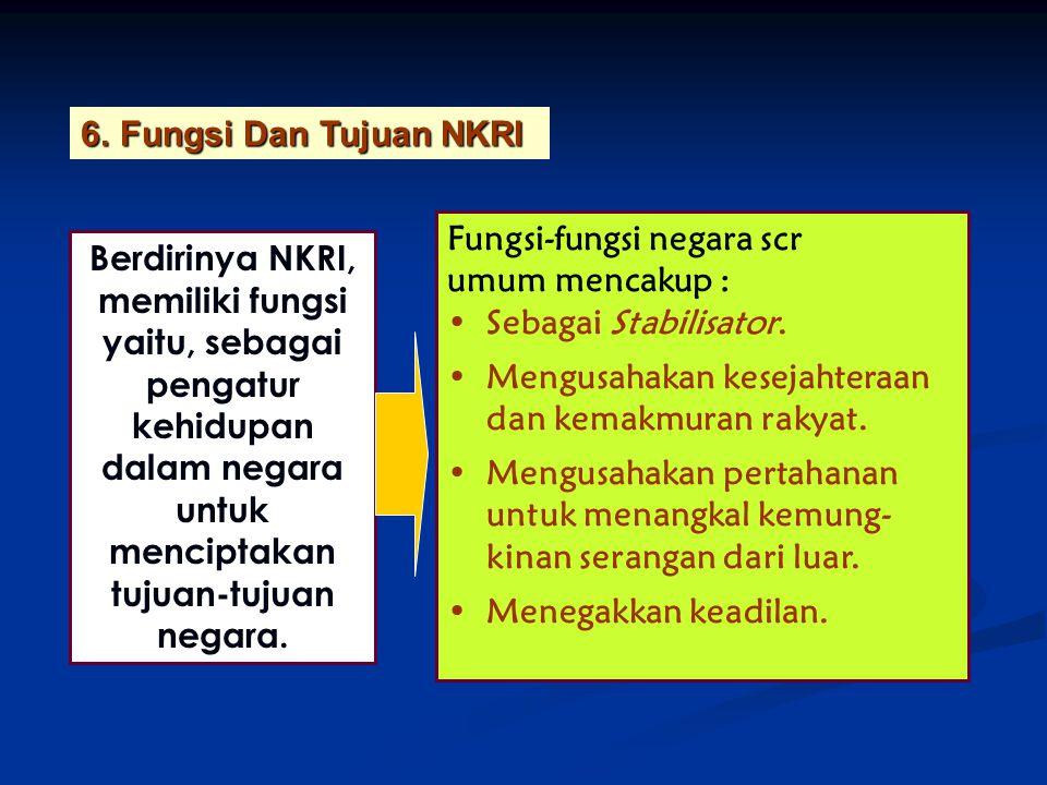 Berdirinya NKRI, memiliki fungsi yaitu, sebagai pengatur kehidupan dalam negara untuk menciptakan tujuan-tujuan negara. 6.Fungsi Dan Tujuan NKRI Fungs