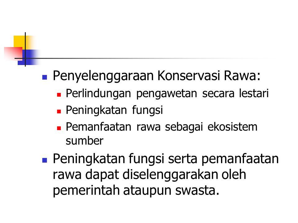 Penyelenggaraan Konservasi Rawa: Perlindungan pengawetan secara lestari Peningkatan fungsi Pemanfaatan rawa sebagai ekosistem sumber Peningkatan fungs