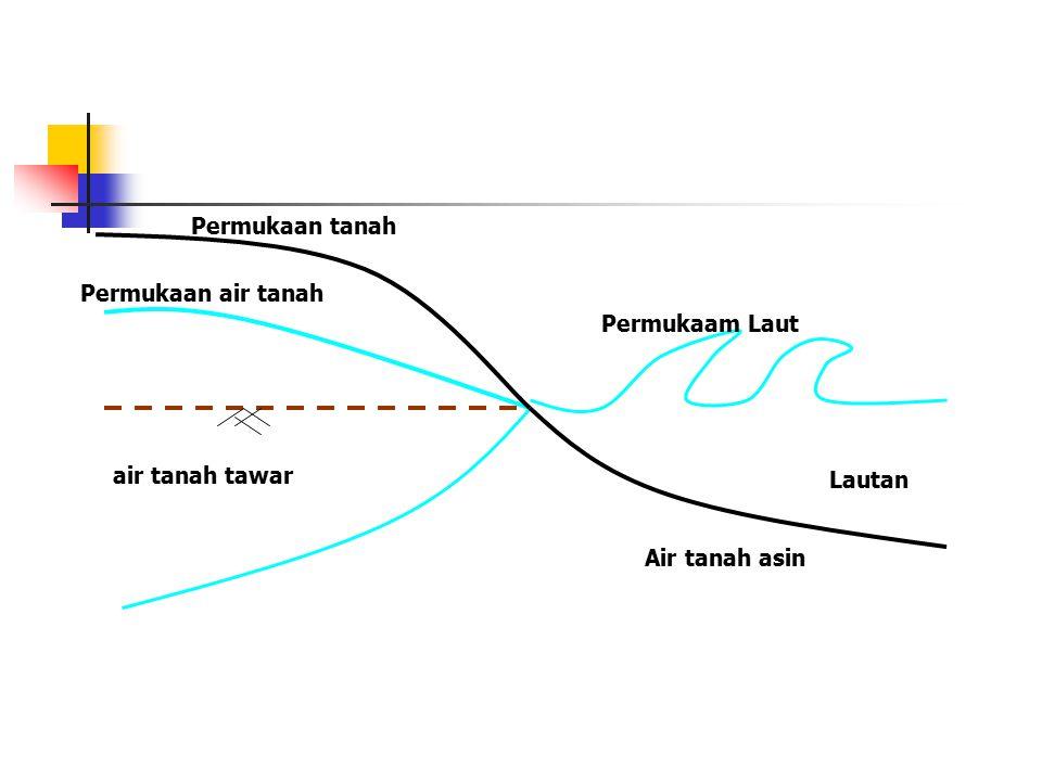 Permukaan tanah Permukaan air tanah air tanah tawar Permukaam Laut Lautan Air tanah asin