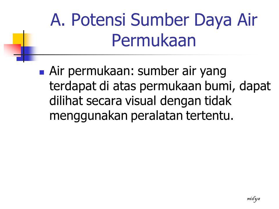 A. Potensi Sumber Daya Air Permukaan Air permukaan: sumber air yang terdapat di atas permukaan bumi, dapat dilihat secara visual dengan tidak mengguna