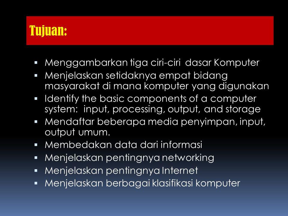 Tujuan:  Menggambarkan tiga ciri-ciri dasar Komputer  Menjelaskan setidaknya empat bidang masyarakat di mana komputer yang digunakan  Identify the basic components of a computer system: input, processing, output, and storage  Mendaftar beberapa media penyimpan, input, output umum.