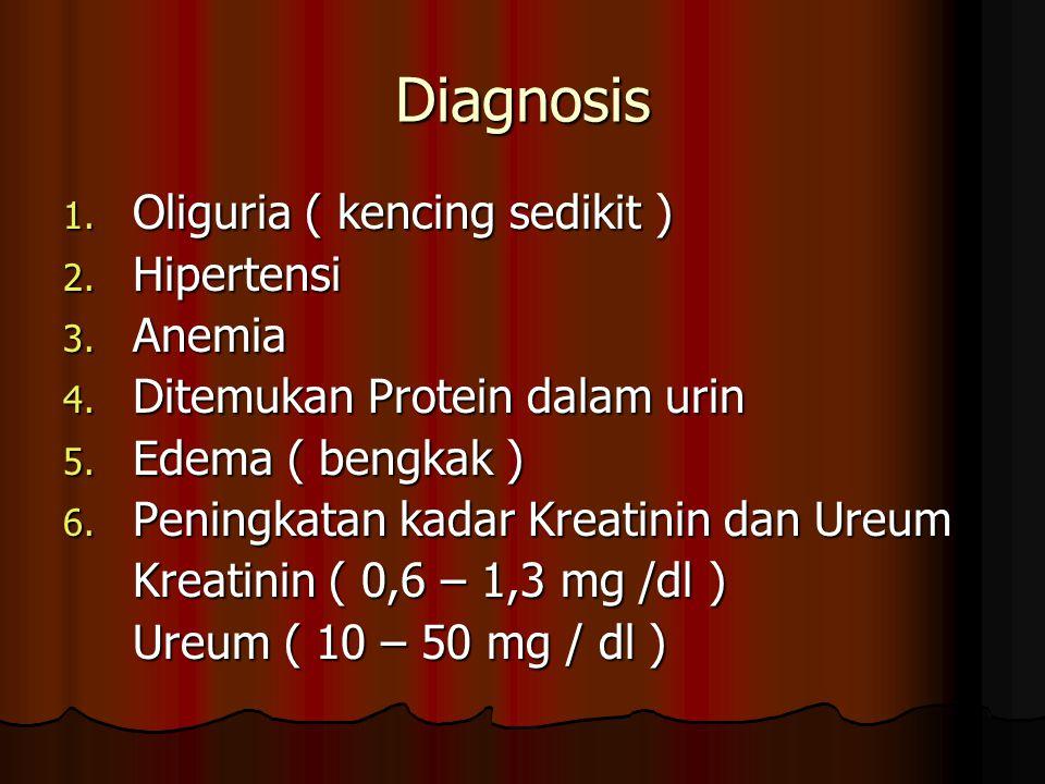 Diagnosis 1. Oliguria ( kencing sedikit ) 2. Hipertensi 3. Anemia 4. Ditemukan Protein dalam urin 5. Edema ( bengkak ) 6. Peningkatan kadar Kreatinin