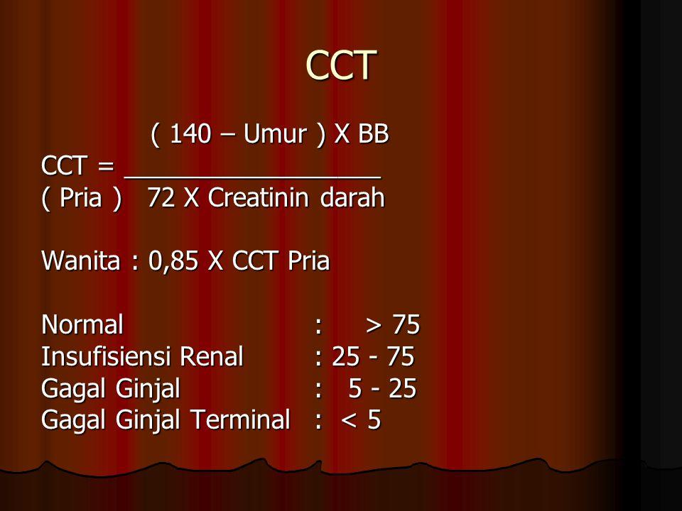 CCT ( 140 – Umur ) X BB ( 140 – Umur ) X BB CCT = __________________ ( Pria ) 72 X Creatinin darah Wanita : 0,85 X CCT Pria Normal : > 75 Insufisiensi