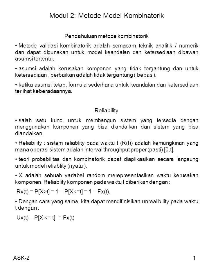 ASK-21 Modul 2: Metode Model Kombinatorik Pendahuluan metode kombinatorik Metode validasi kombinatorik adalah semacam teknik analitik / numerik dan da